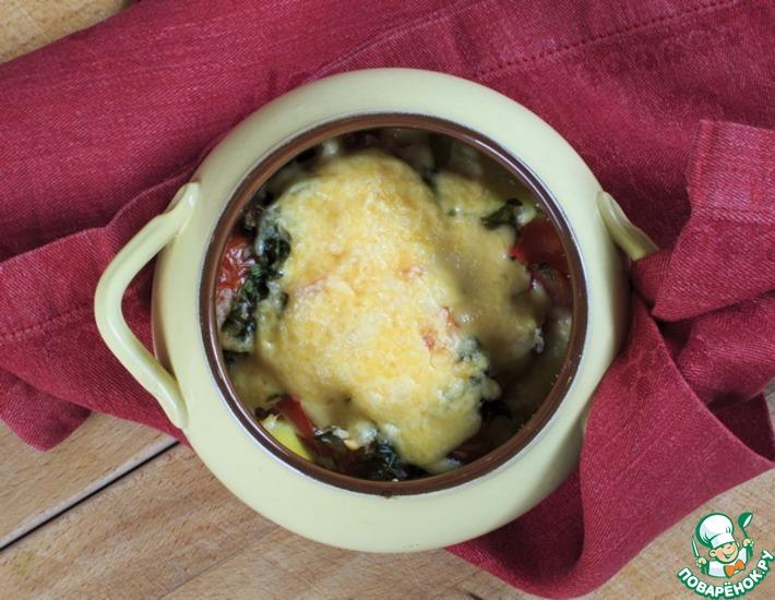 Рецепт: Картофель с курицей и сыром в горшочке