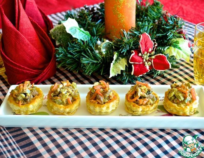 Рецепт: Буше с салатом из говядины и моркови