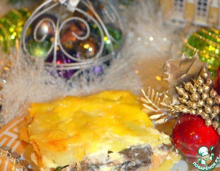 Рецепт: Запеканка из картофеля и маринованных грибов Оки