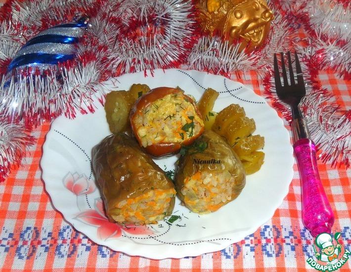 Рецепт: Фаршированный перец Новогоднее чудо