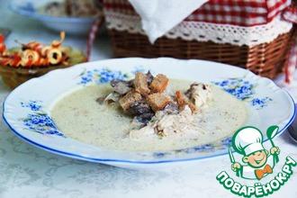 Рецепт: Курица с шампиньонами в сметанном соусе