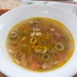 Суп с рисом и копченостями