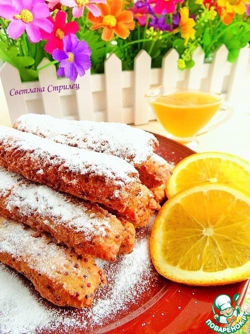 Рисовые палочки с апельсиново-медовым соусом – кулинарный рецепт