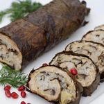 Мясной рулет с рисом и виноградными листьями
