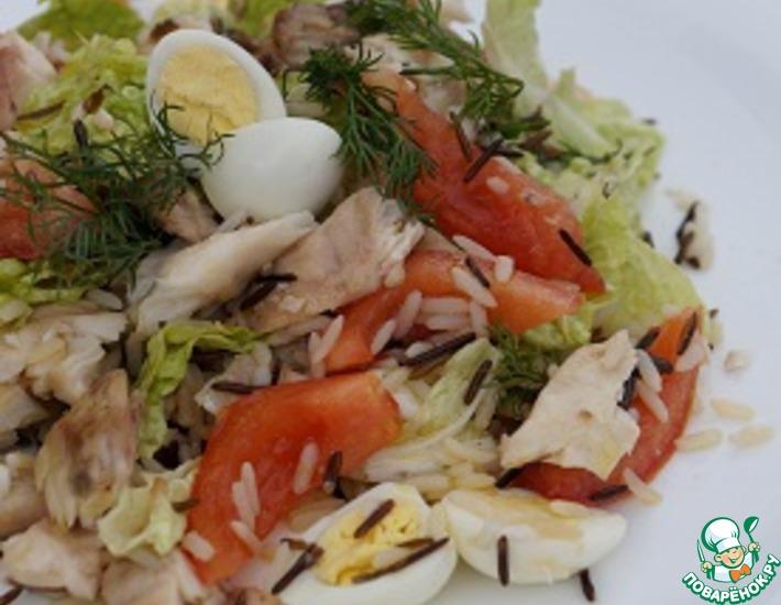 Рецепт: Свежий салат с рыбой и овощами