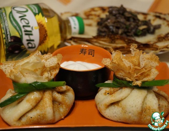 Рецепт: Блины, начиненные легким и лесными грибами