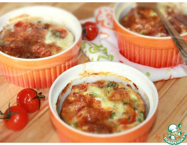 Рецепт: Рисовая запеканка с тунцом и помидорами черри