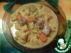 Рецепт Цветная капуста с мясом в сливочном соусе