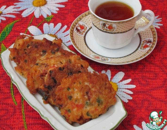 Рецепт: Закусочные крабовые оладьи
