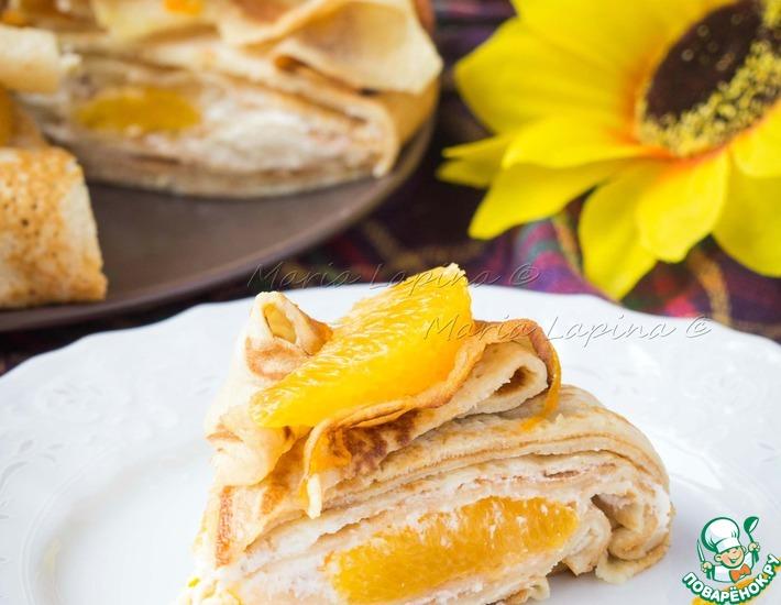 Рецепт: Апельсиновый блинный торт