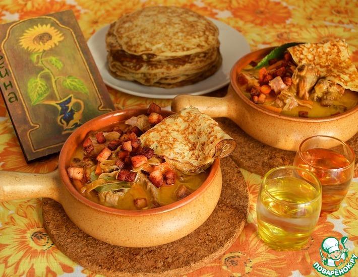 Рецепт: Соус к блинам из мяса и грибов Мачанка