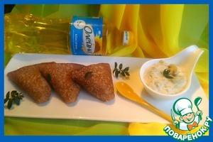 Гречневые блины с мясной начинкой и грибным соусом