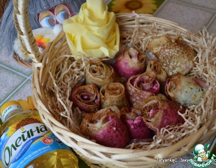 Рецепт: Закусочные розы из блинов со шпинатом