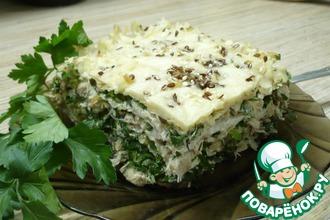 Рецепт: Пирог из лаваша с курицей и зеленью