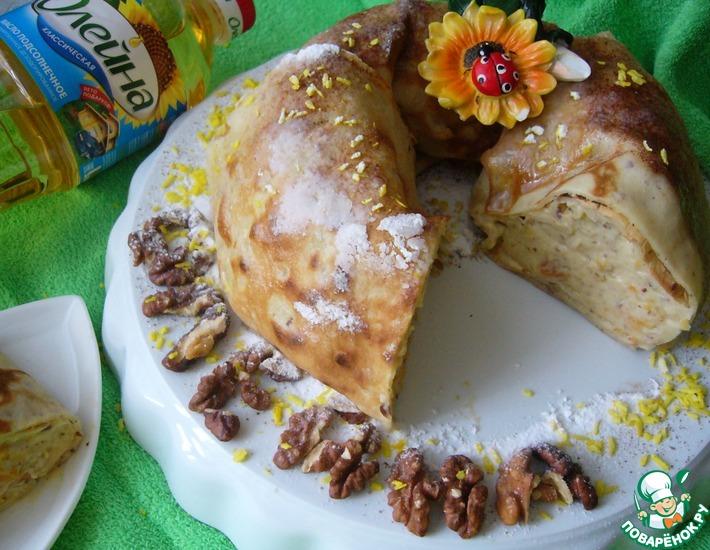Рецепт: Блинное кольцо с ореховой начинкой