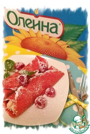 """Рецепт Блинный десерт """"Красный бархат"""""""