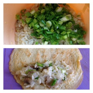 Add finely chopped green onions. Stuffing mix well.  The finished pancake put the stuffing tablespoon and fold into a roll.