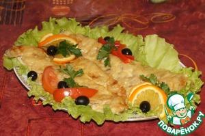 Запекать в духовке около 30 минут. Выложить на листья салата и украсить маслинами.