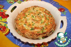 On top sprinkle with grated cheese and sent in a hot oven and waiting when browned.