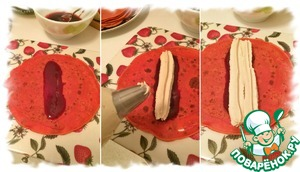 In the center of the pancake put a strip of a teaspoon of raspberry jam, top with two strips of curd butter cream. The cream is convenient to pay using a pastry bag and nozzle.
