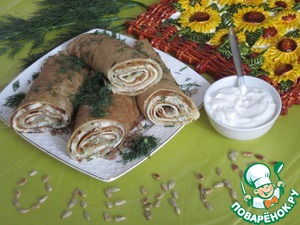 Cut the pancakes in half and serve to the table with low-fat sour cream.