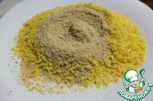 Панировочные сухари смешиваем с темпурой и цедрой лимона.
