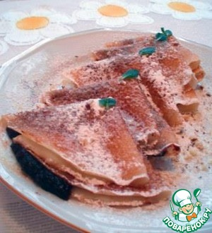Serve sauce wrapped in pancakes and garnish with powdered sugar, chopped walnuts and mint leaves.
