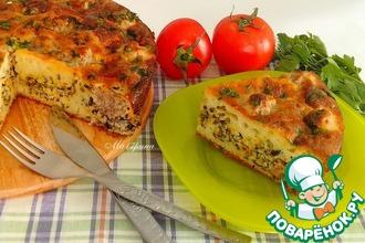 Рецепт: Заливной пирог с диким рисом и тефтелями