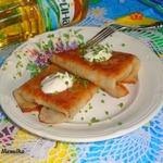 Конвертики из блинов с печенью и сыром