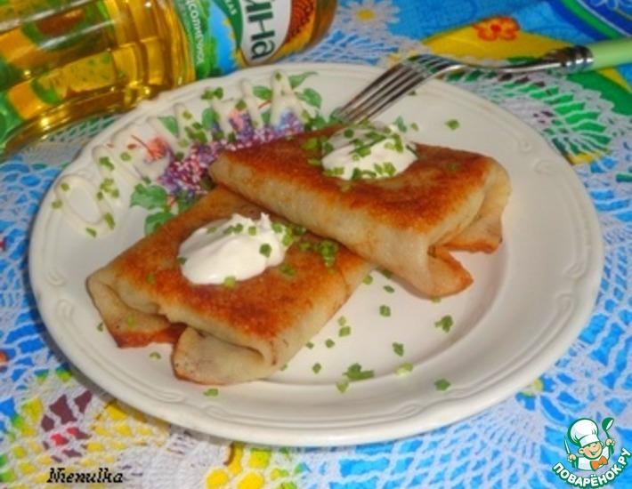 Рецепт: Конвертики из блинов с печенью и сыром