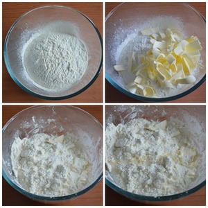 In a bowl sift the flour with a knife to chop the cold butter (from the freezer), grind into crumbs. Gradually add cold water (from the fridge), stir. Do not add all the water at once, it may need less.