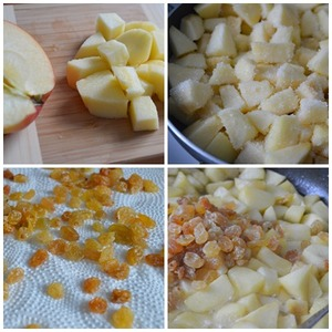 Apples cut into medium dice. I chopped very coarsely, better than 0.5 cm. soak the Raisins, drain the water and dry on a paper towel. In a pan melt the butter and arrange the apples. When Apple will separate the juice, add the raisins and simmer until the liquid is completely evaporated. Add the sugar and caramelize the. At the end add cinnamon.