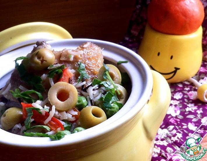 Рецепт: Курица с рисом и овощами