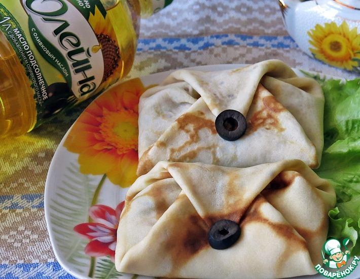 Рецепт: Блинчики с тунцом и маслинами
