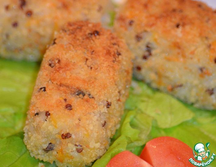 Рецепт: Мини крокеты из риса с курицей и овощими