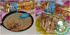 After an hour take the dough and bake pancakes on a frying pan, which we coat with vegetable oil.  I ready pancakes fold cervero.