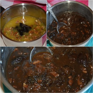 Orange juice pour into a saucepan with a thick bottom. Add prunes and walnuts. By necessity and taste, add sugar.  Put the saucepan on the stove, bring to a boil. Then make the minimum fire and simmer for at least an hour.  The sauce is ready.