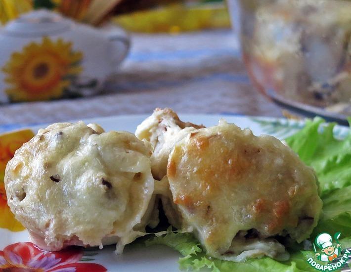Рецепт: Блинчики с мясом под сырной корочкой