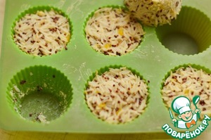 Put the rice in a silicone mold and put in a preheated 180C oven ha 10-15 minutes.