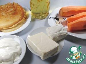 Ингредиенты для морковно-сырной начинки. Творог и плавленый сыр для нее подойдут любой консистенции и плотности.