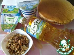 Подготовьте ингредиенты для твворжно-ореховой начинки.