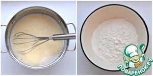 Печем шоколадные блины:   Соединить яйца, сахар, соль, соду, воду и 200 мл молока. Взбить венчиком до однородности. Всыпать частями 1,5 ст. просеянной муки, каждый раз взбивая венчиком, чтобы не было комочков.