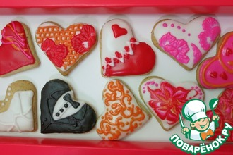 Рецепт: Печенье-валентинки под сахарной глазурью