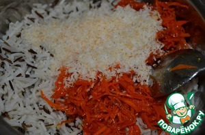 Combine rice, coconut and carrots.