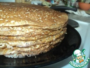 Bake and grease each pancake with melted butter. Pay attention - in the dough, no butter, no vegetable oil!