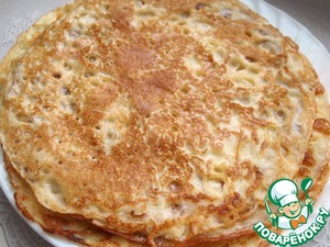 For this recipe I baked the buttermilk pancakes, the ingredients and cooking process which can be viewed here http://www.povarenok .ru/recipes/show/102 876/