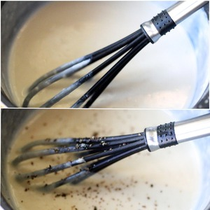 Now add the hot milk, in stages, bring the sauce to a thick cream. Next pour in the 2 egg yolks and half the grated cheese. Pepper.