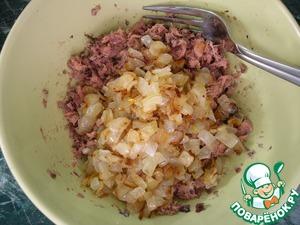 Fried onion add to tuna and mix