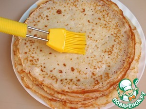 Each pancake sprinkle with melted butter.