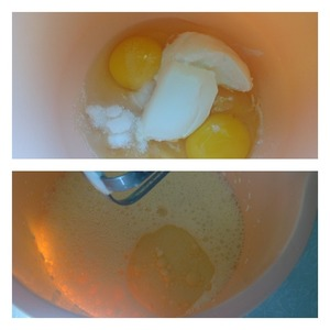 Beat eggs with salt, sugar, sour cream.  Add butter and milk, whip